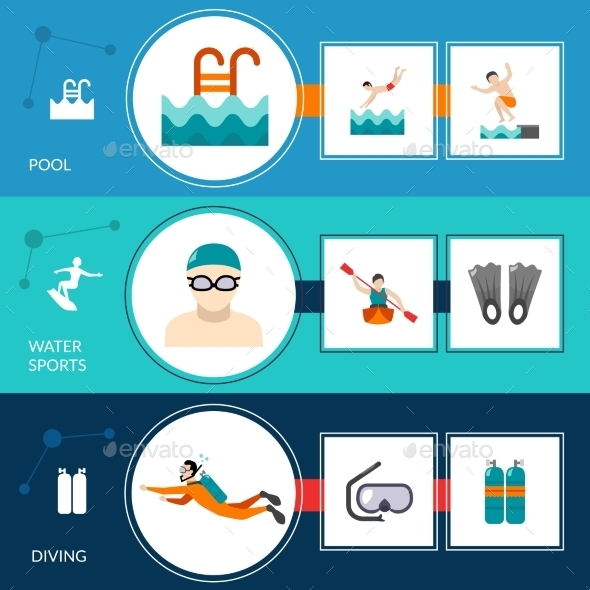 Swimming Banners Set - Sports/Activity Conceptual