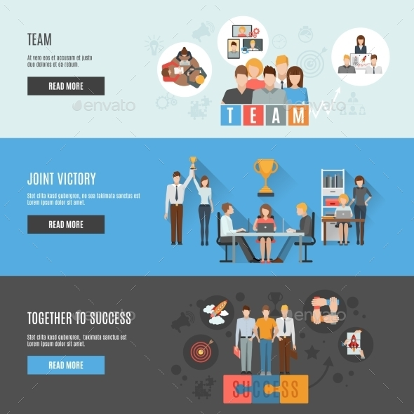 Teamwork Management Flat Interactive  Horizontal - Business Conceptual