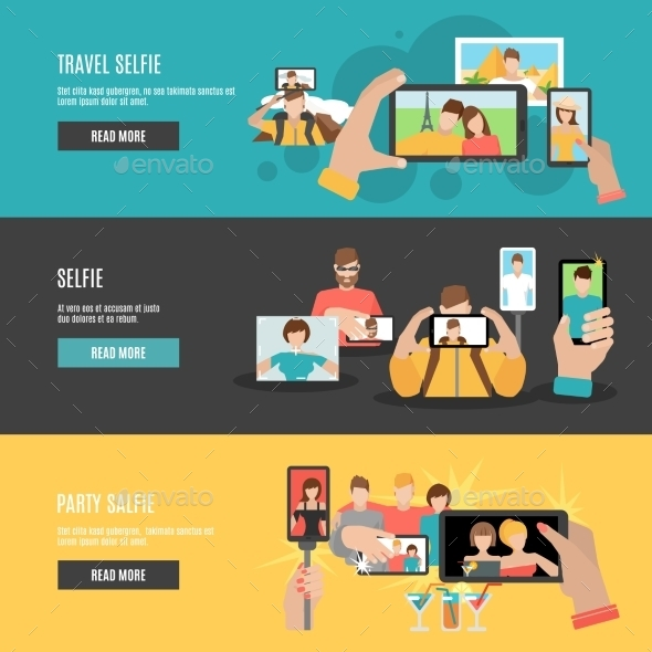 Selfie Flat Interactive Horizontal Banners Set  - Miscellaneous Conceptual