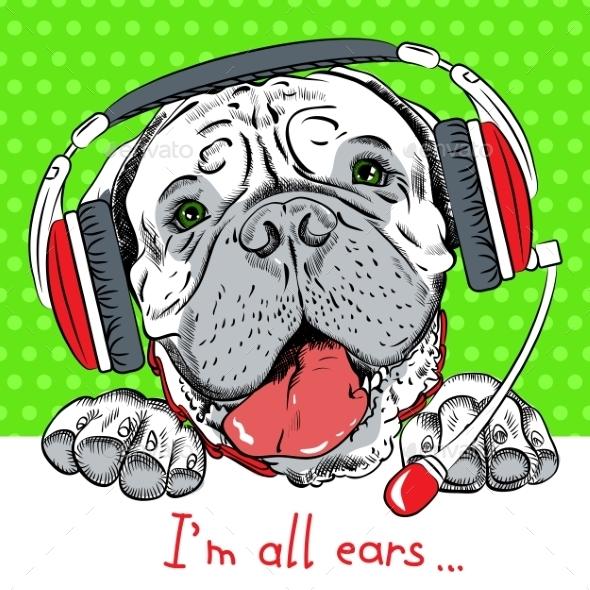 Vector Dog Bullmastiff With Phone Headset - Animals Characters
