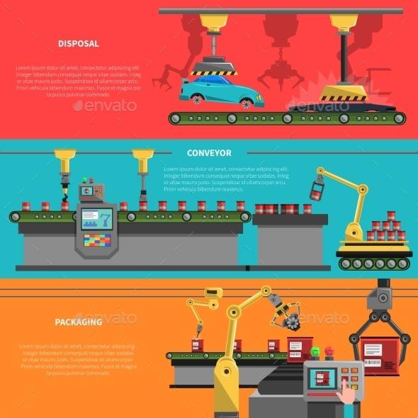 Robot Banners Set - Industries Business