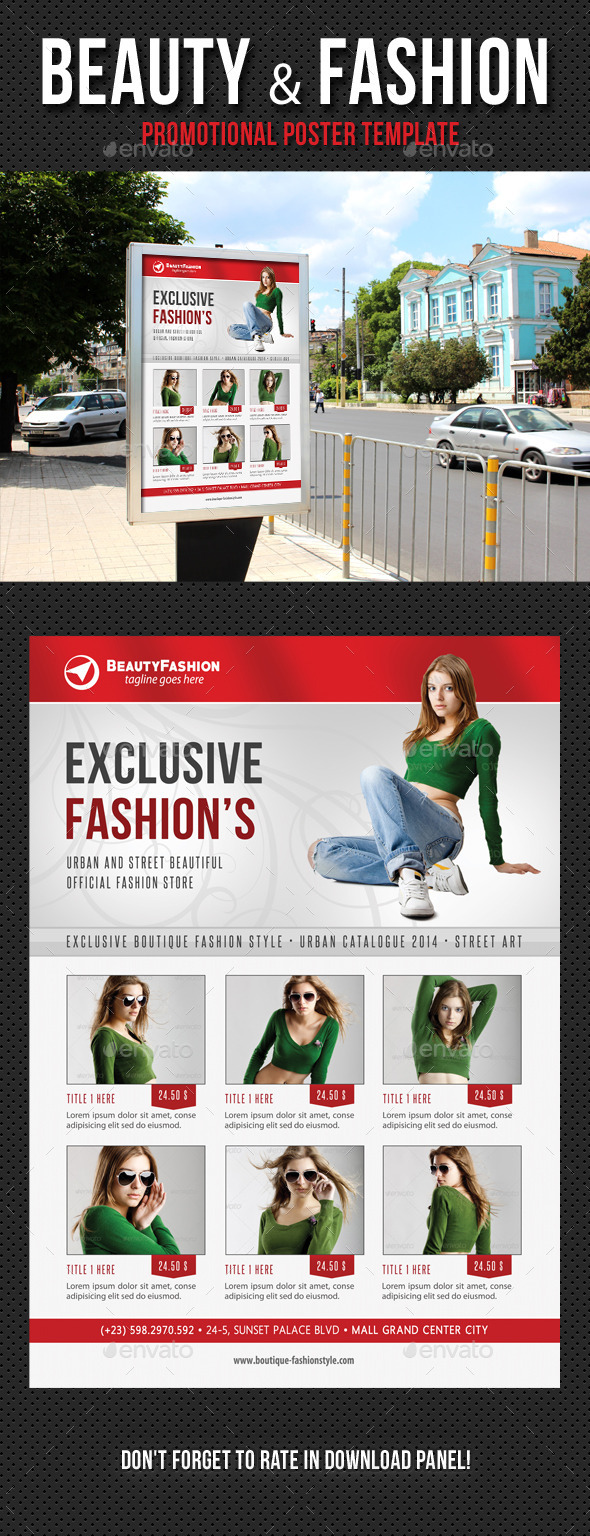 Beauty and Fashion Poster Template V16 - Signage Print Templates