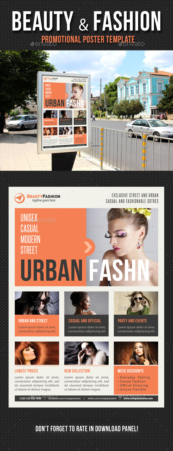 Beauty and Fashion Poster Template V18 - Signage Print Templates