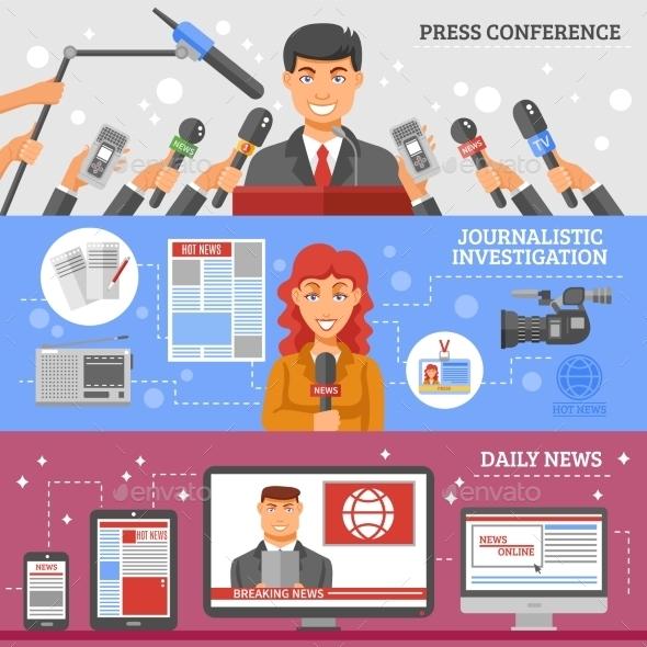 Mass Media Banners Set - Communications Technology
