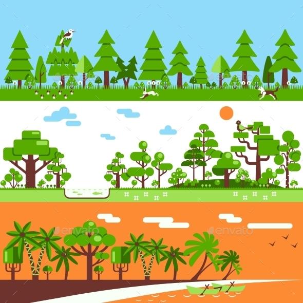 Coniferous Deciduous Tropical Forest Banners - Flowers & Plants Nature