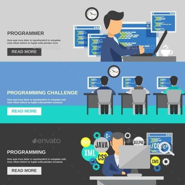 Programmer Banner Set - Computers Technology