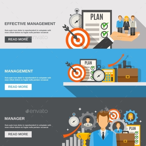 Management Banner Set - Business Conceptual