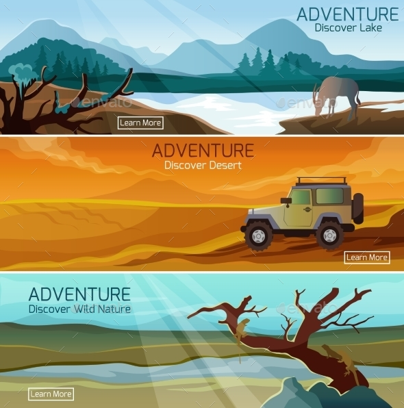 Nature Landscapes Travel Flat Banners Set - Landscapes Nature