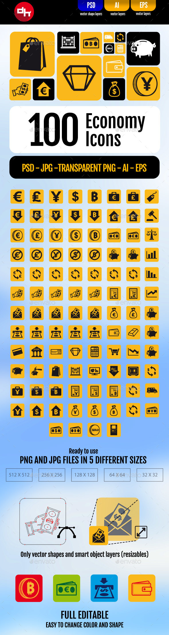 100 Economy Icons Pack - Business Icons