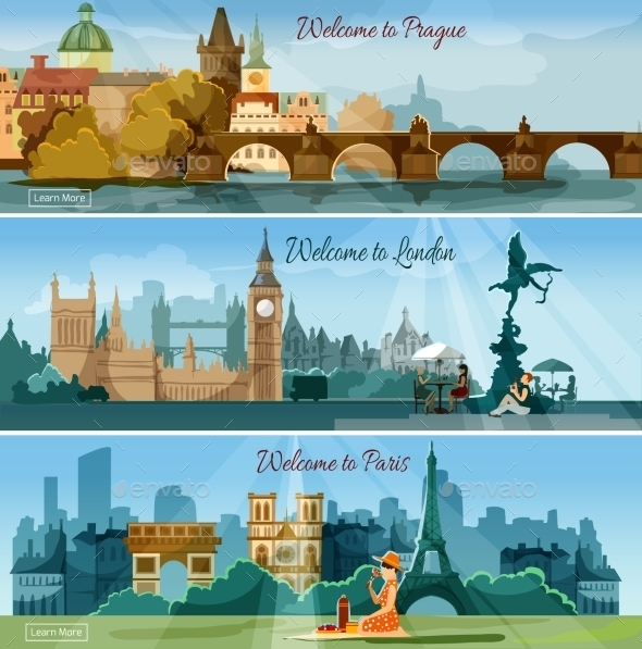 Popular Touristic Cities Flat Banners Set - Travel Conceptual