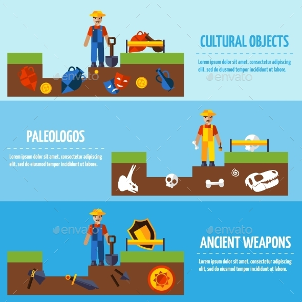 Flat Color  Archeology Banners Set   - Backgrounds Decorative