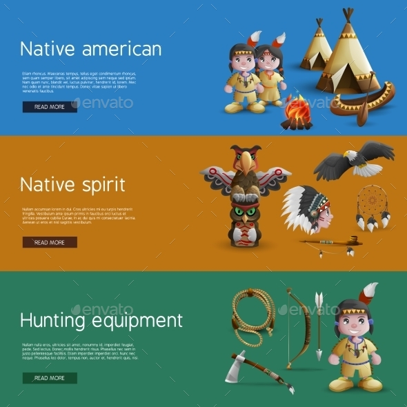 Native American Banners With National  Attributes - Decorative Symbols Decorative