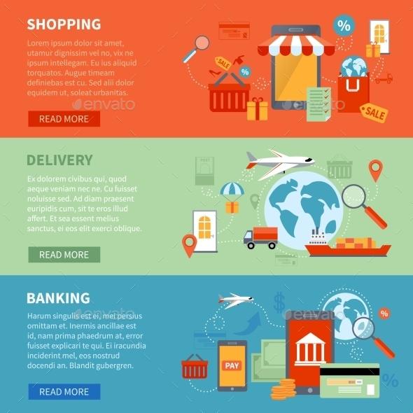 M-commerce Banners Set - Commercial / Shopping Conceptual