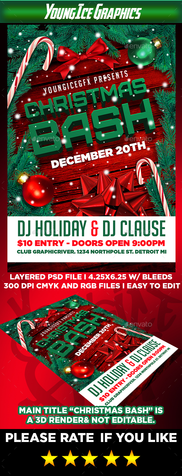 Christmas Bash Flyer Template V2 - Clubs & Parties Events
