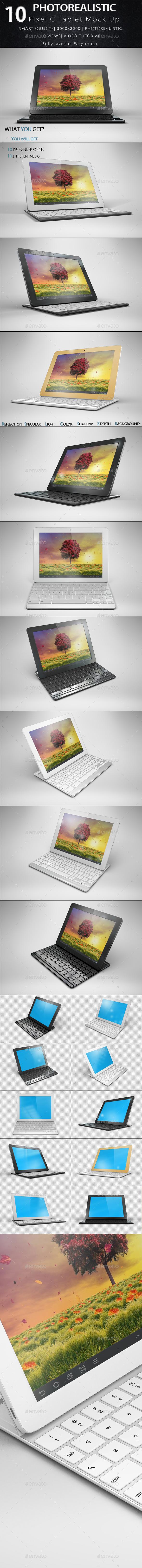 10 Gooogle Pixel C Tablet Mock Up - Product Mock-Ups Graphics