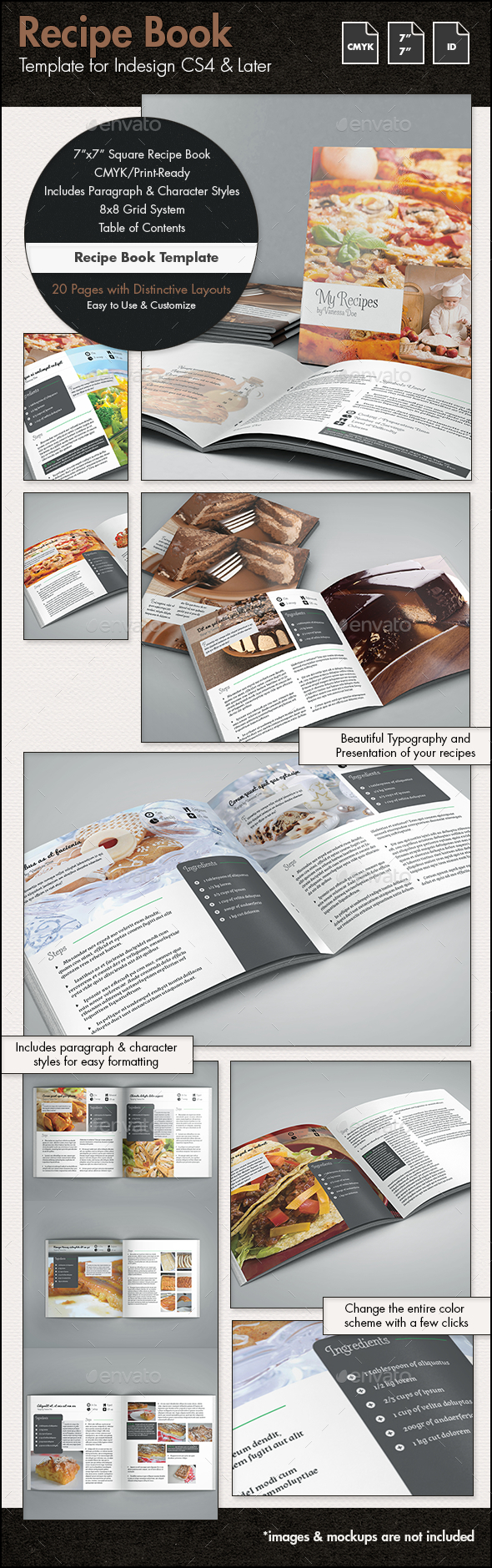 Recipe Book Template - 7x7in - Brochures Print Templates