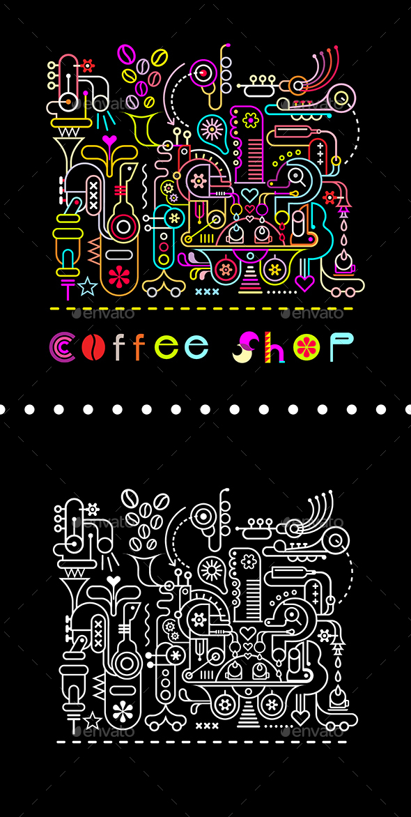 Coffee Shop Neon Colors Illustration - Food Objects