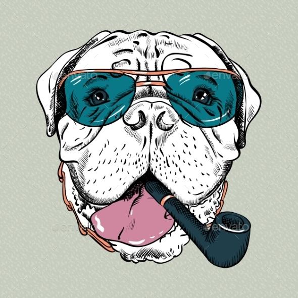 Vector Funny Cartoon Hipster Dog Bullmastiff  - Animals Characters
