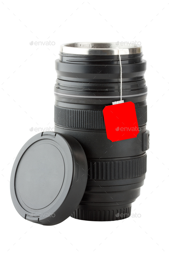 Mug made from professional photographic lens - Stock Photo - Images