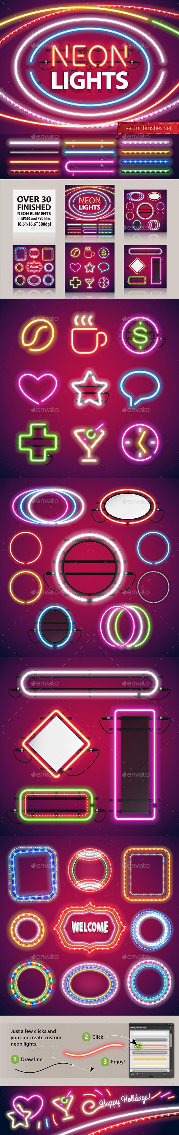 Neon Lights Decoration Set - Borders Decorative