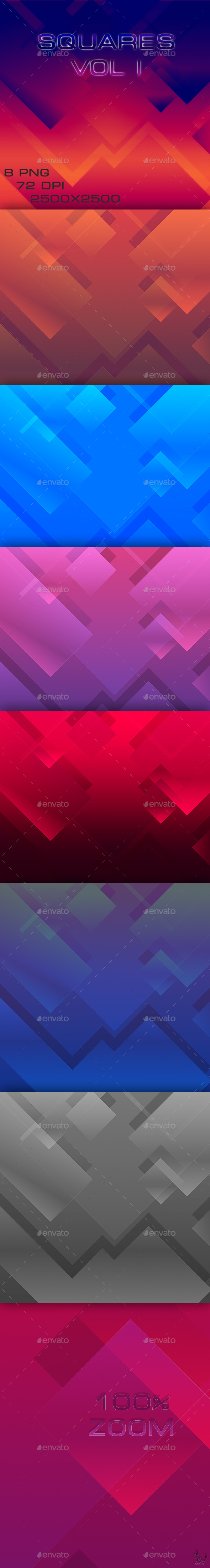 8 Square Backgrounds - Abstract Backgrounds