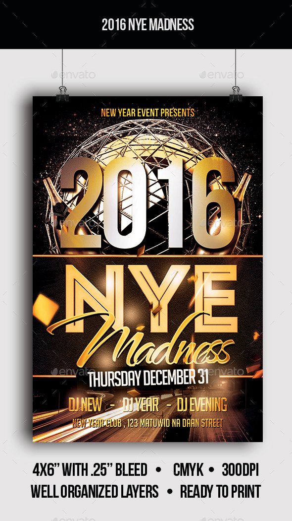 2016 NYE Madness - Flyer - Clubs & Parties Events