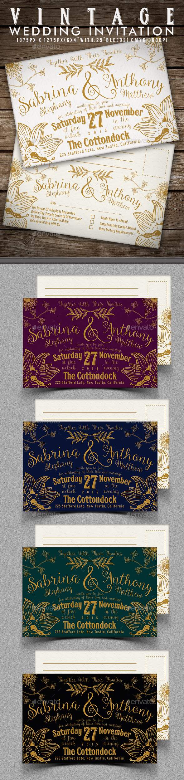 Vintage Wedding Invitation - Invitations Cards & Invites