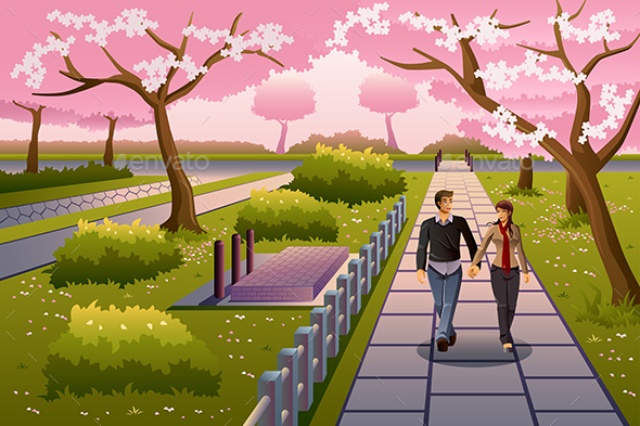 Couple Walking During Cherry Blossom - People Characters
