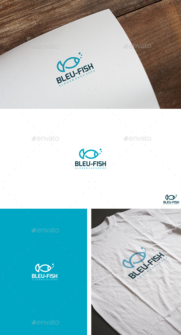 Bleu Fish Logo - Animals Logo Templates