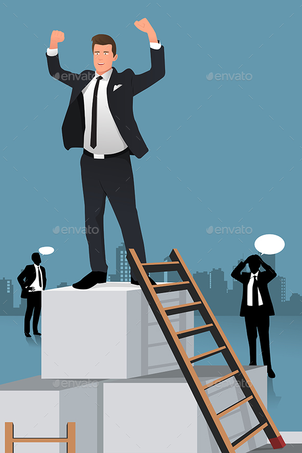 Businessmen Climbing to the Top of Box - Concepts Business
