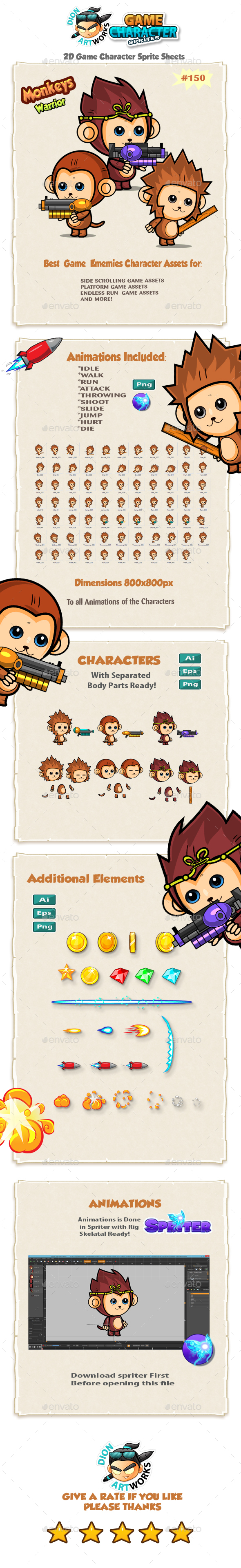 Cute Monkeys 2D Game Character Sprites 150 - Sprites Game Assets