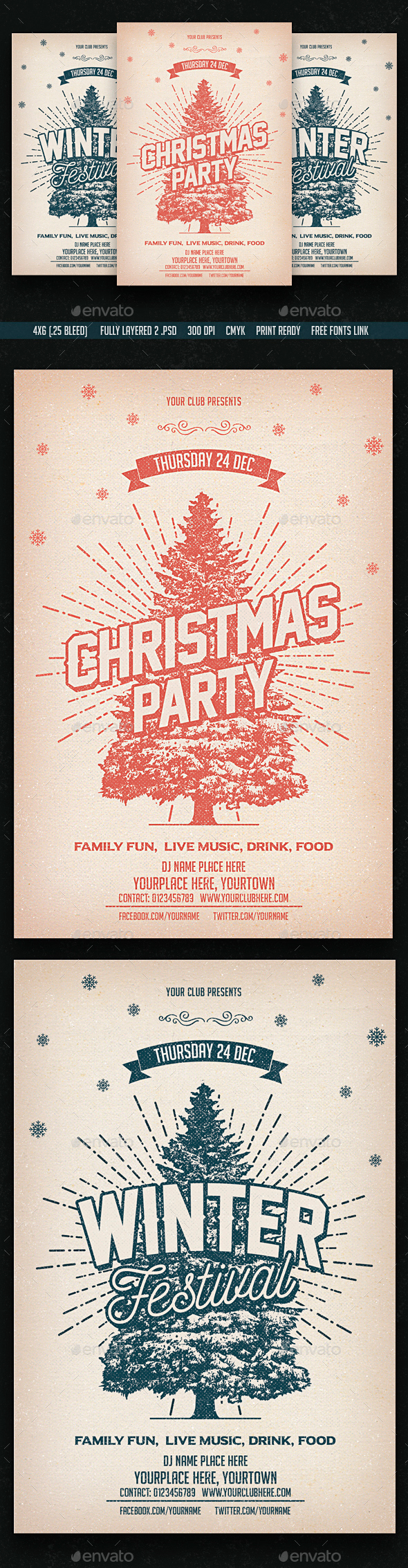 Christmas & Winter Party Flyers - Clubs & Parties Events