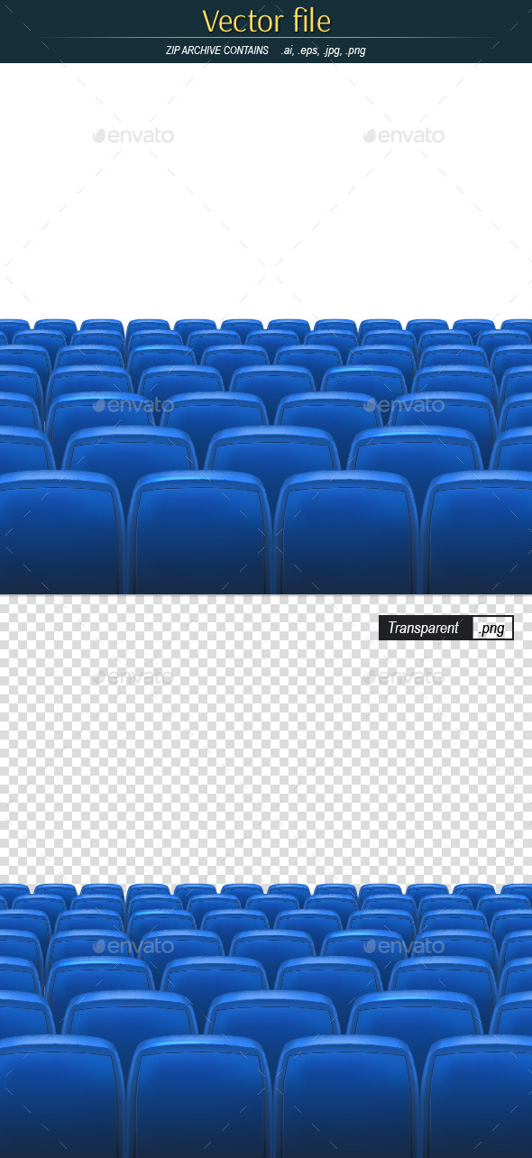 Empty Auditorium with Blue Seats with Space - Backgrounds Decorative