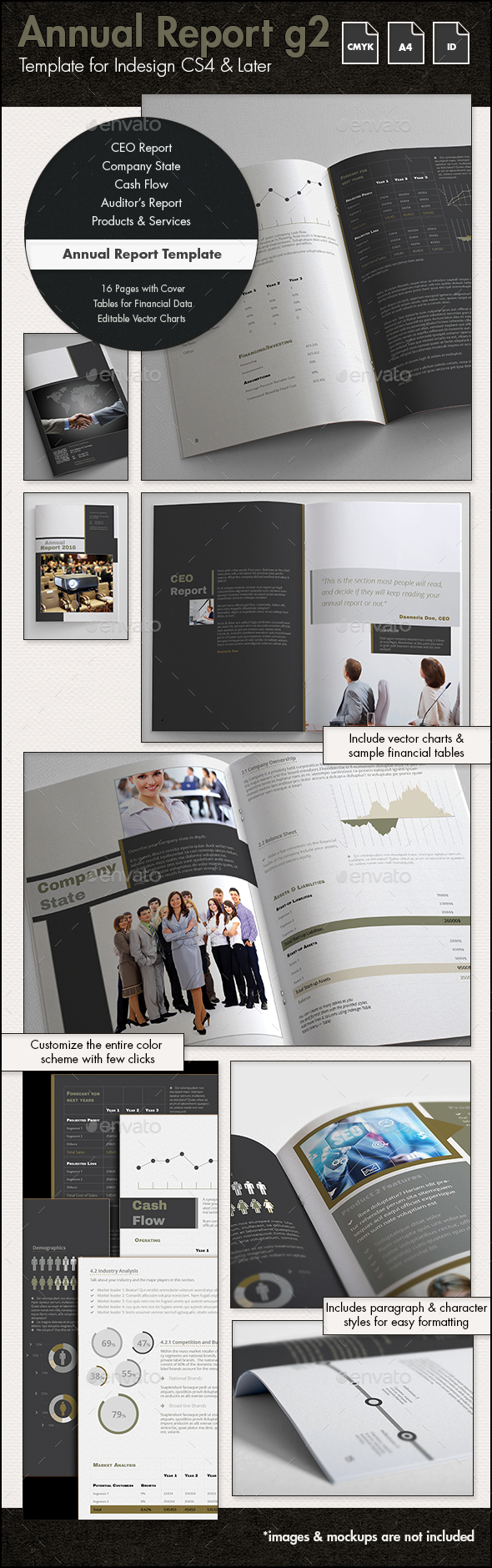 Annual Report Template g2 - A4 Portrait - Print Templates