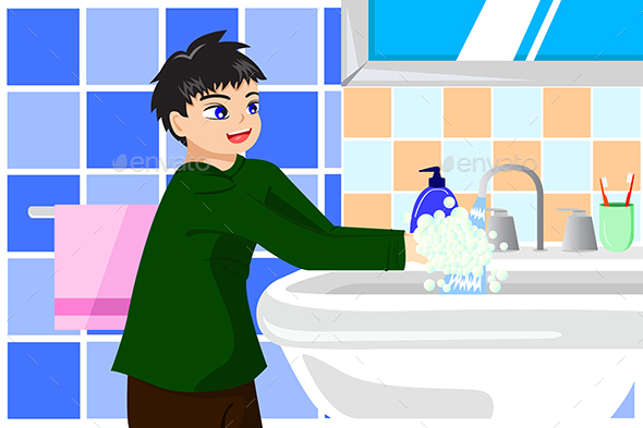 Boy Washing Hands with Soap - People Characters