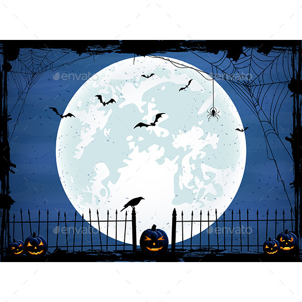 Halloween Background with Blue Moon - Halloween Seasons/Holidays