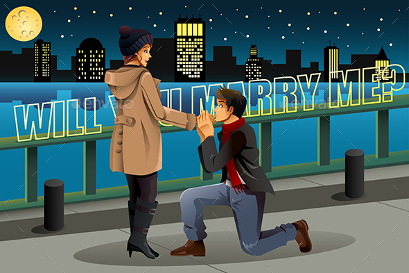 Man proposing to Woman - People Characters