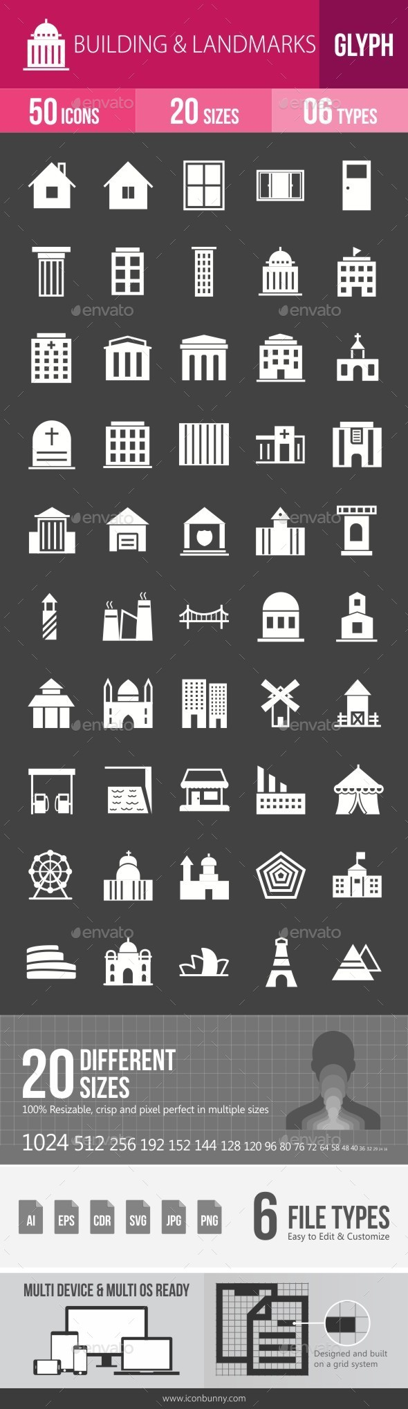 Buildings & Landmarks Glyph Inverted Icons - Icons