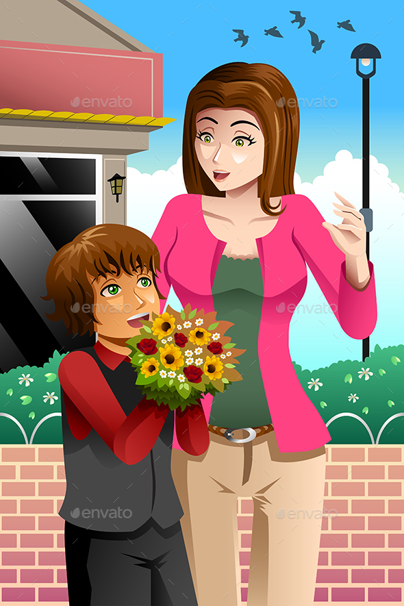 Girl Giving Bouquet of Flowers to Mother - People Characters