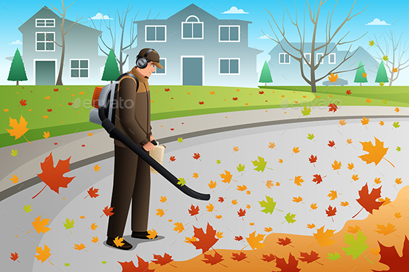 Man Clean Up Leaves During Fall Season - People Characters
