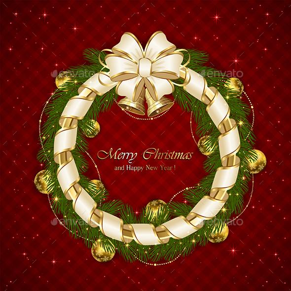 Christmas Decoration with Ribbon and Stars - Christmas Seasons/Holidays