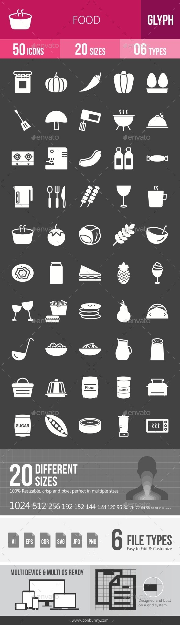 Food Glyph Inverted Icons - Icons