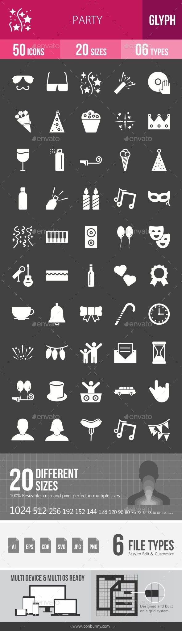 Party Glyph Inverted Icons - Icons