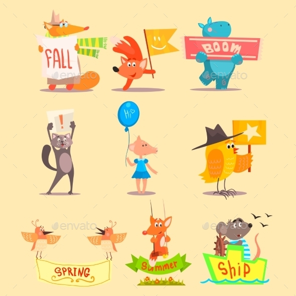 Flat Season Animal Icons. Vector Illustrations - Seasons Nature