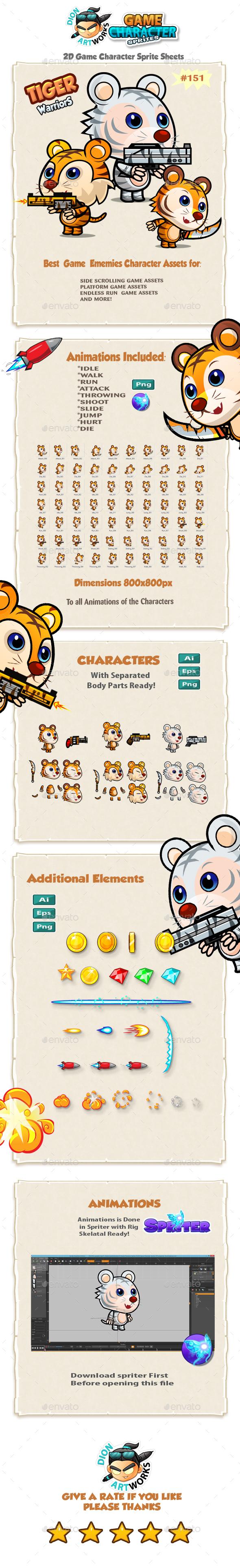 Tiger Warriors 2D Game Character Sprites 151 - Sprites Game Assets