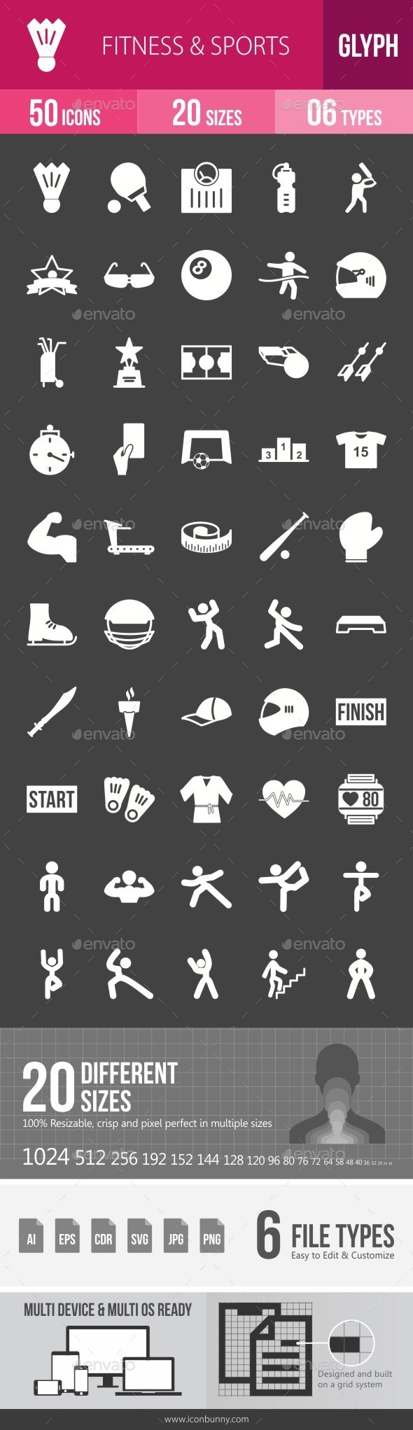 Fitness & Sports Glyph Inverted Icons - Icons