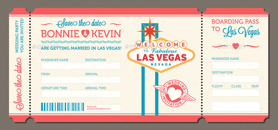 Las Vegas Wedding Invite Tickets By Pingebat Graphicriver
