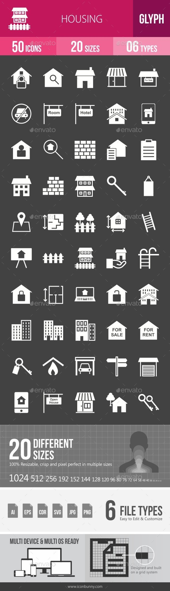 Housing Glyph Inverted Icons - Icons