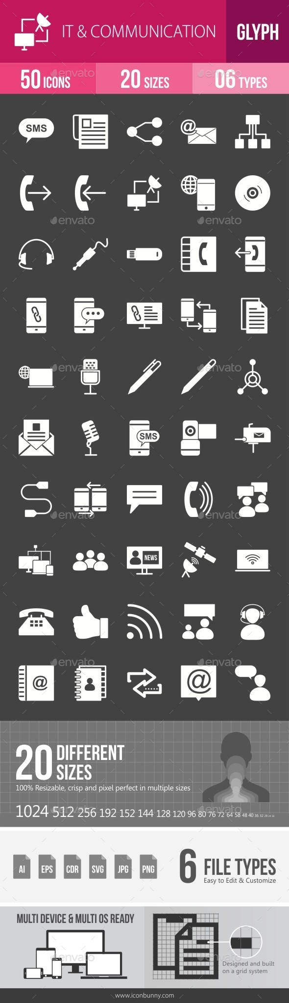 IT & Communication Glyph Inverted Icons - Icons