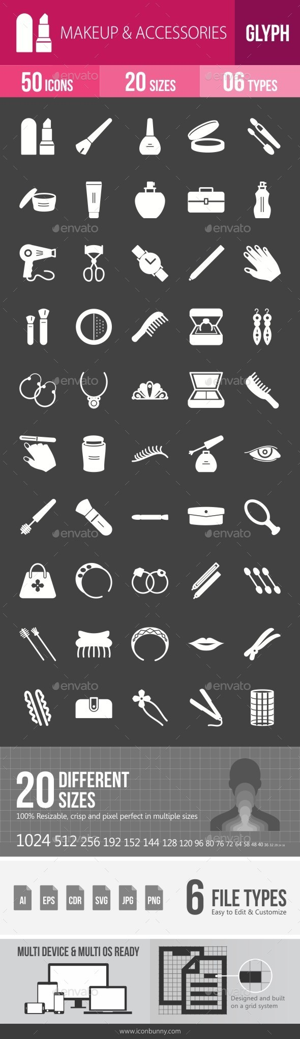 Makeup & Accessories Glyph Inverted Icons - Icons